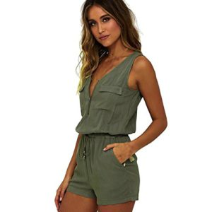 Women Jumpsuit Sleeveless Bodysuit Playsuits Zipper V-neck Lace up with pocket (S, Green)