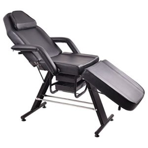 Salon SPA Facial Adjustable Table Beauty with Two Storage Drawers (Black)