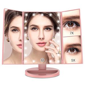 [2018 Newest]MayBeau Lighted Makeup Mirror, 1X/5X/7X Magnification, Trifold Vanity Mirror with 21 LED lights, Touch Screen, Dual Power Supply, 180 Degree Rotation Countertop Cosmetic Mirror(Rose Gold)