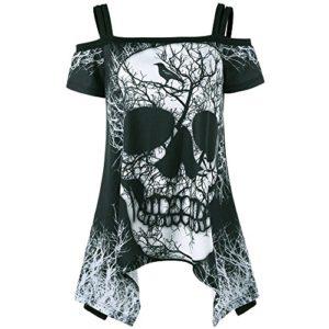 HGWXX7 Women Off Shoulder Skull Print Short Sleeve Irregular T-Shirt Top Blouse (S, Black)