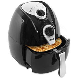 Della Electric Black Air Fryer Temperature Control Portable, Detachable Basket Handle, 1500 Watt