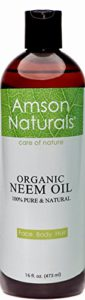 NEEM OIL ORGANIC -16oz/473ml-by Amson Naturals-100% Pure & Natural, Cold Pressed -For Face Body Hair – Skin Care, Hair Care