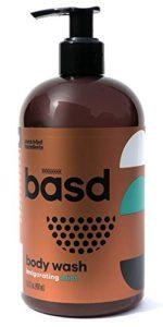 invigorating mint body wash – great for sensitive skin – contains organic aloe vera juice – made in Canada – basd body care – organic green tea – peppermint oil – 450ml