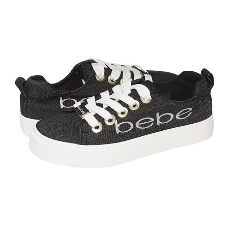 bebe Girls Big Kid Denim Fashion Sneakers Tie Up Slip On With Laces For Children Size 2/3 Black