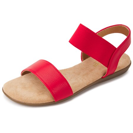 Floopi Sandals for Women | Cute, Open Toe, Wide Elastic Design, Summer Sandals| Comfy, Faux Leather Ankle Straps W/Flat Sole, Memory Foam Insole