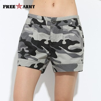 Free Army Brand Shorts Vintage Women Shorts Cotton Casual Loose Shorts Military Camouflage Girls Camo Shorts Female Gk-9326B