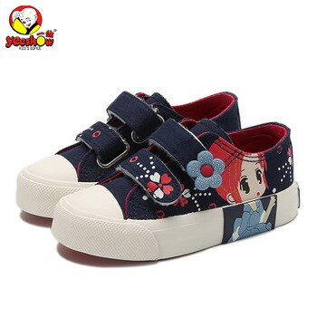 Girls Princess Shoes 2020 New Spring Children Canvas Sneakers Floral Kids Fashion Sneakers Denim Casual Flat Shoes for Girls
