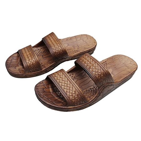 Hawaii Brown or Black Jesus Sandal Slipper for Men Women and Teen Classic Style (Womens size 10, Mens size 8, Brown)