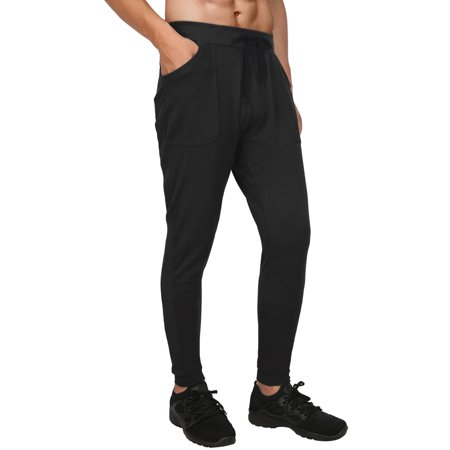 HDE Men's Athletic Yoga Pants Active Joggers For Men Casual Workout Gym Gear (Black, Large)