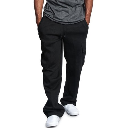 Men's Casual Gym Cargo Combat Straight Loose Jogger Sweat Track Pants