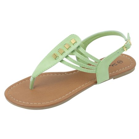 New Starbay Brand Women's Apple Green T-Strap Flat Sandals Size 6
