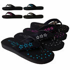 NEW Womens Star Studded Sandals Flat Flip Flop Thong Shoe Black Gold Pink Silver