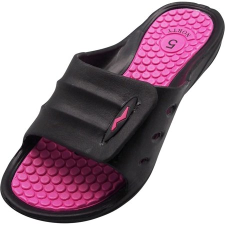 Norty Womens Summer Comfort Casual Slide Flat Strap Shower Sandals Slip On Shoes, 40330 Black-Fuchsia / 5B(M)US