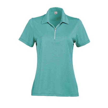 Page & Tuttle Womens Two-Tone Stripe Jersey Golf Casual Polo -