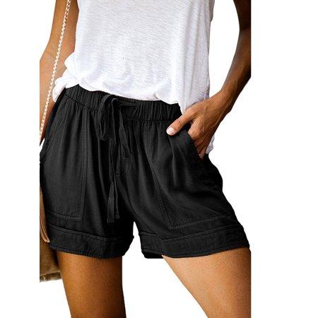 S-5XL Womens Casual Drawstring Elastic Waist Summer Shorts with Pockets Ladies Summer Beach Short Casual Loose Short Pants Plus Size