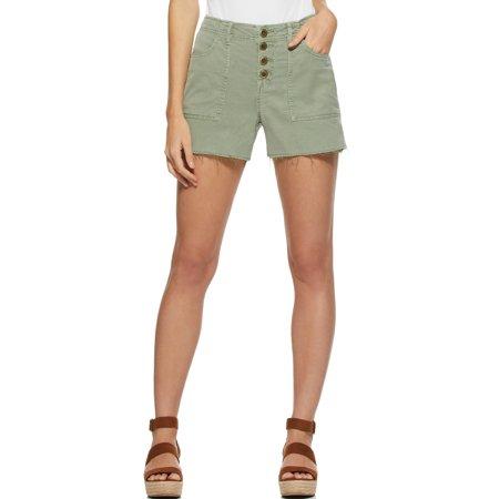 Scoop Women's Button Front Frayed Hem Cargo Shorts
