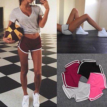 Summer Pants Women Sports Shorts Gym Workout Waistband Skinny Yoga Short