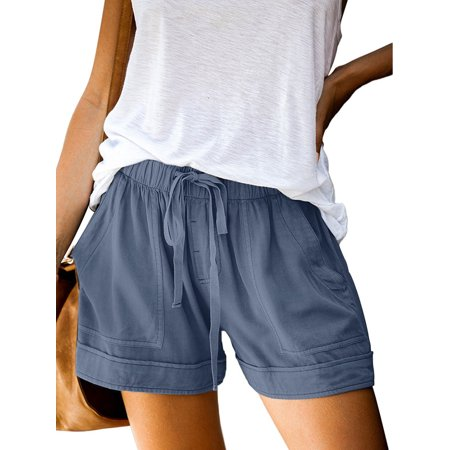 Summer Shorts for Women Solid Casual Fit Elastic Waist Pocket Pants Lunge Pants Ladiess Casual Drawstring Elastic Waist Comfy Summer Beach Shorts S-5XL