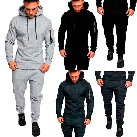 SUNSIOM Mens Tracksuit Top Bottom Sport Jogging Sweat Suit Trousers Pant Hoodie Coat