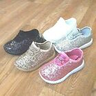 Toddler Girls Sneakers Glitter Tennis Sparkly Shoes Size 4-9 New