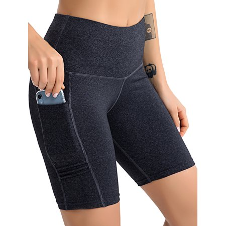 Tummy Control Yoga Shorts with Pockets for Women Workout Running Athletic Bike High Waist Activewear Bottoms