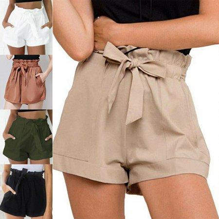 US Womens High Waist Tie Belt Paper Bag Shorts Ladies Summer Hot Pants Size S-XL