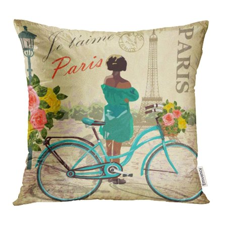 USART Old Paris Vintage France Girl Travel Woman Beauty Bicycle Bike Pillowcase Cushion Cases 18x18 inch