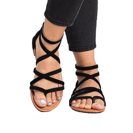 Women Gladiator Flat Sandals Casual Summer Beach Y-strap Lace Up Ankle Shoe Size