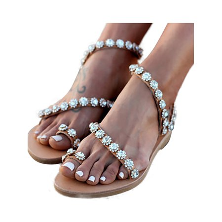 Womens Flat Diamante Sparkly Studded Strap Boho Summer Beach Sandals Shoes Sizes