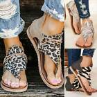 Womens Gladiator Clip Toe Flat Sandals Summer Beach Animal Print Fashion Shoes
