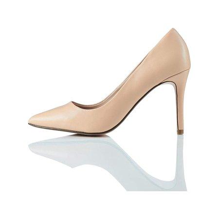 Amazon Brand - find. Women's High Heel Leather Pumps Beige), US, Beige, Size 8.5