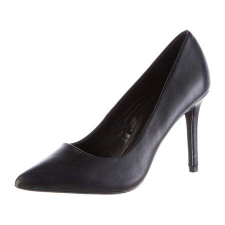 Amazon Brand - find. Women's High Heel Leather Pumps Black), US, Blue, Size 7.5