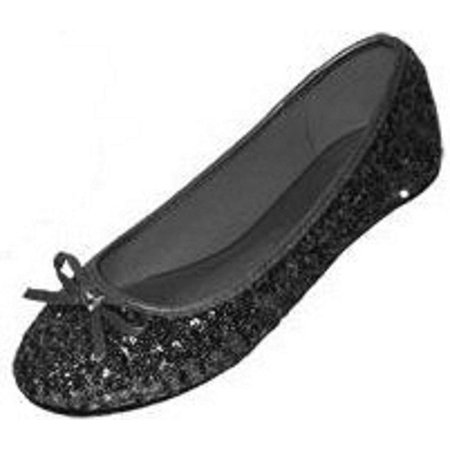 New Womens Sequins Ballerina Ballet Flats Shoes 4 Colors Available (5/6, Black Sequins 2001)