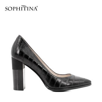 SOPHITINA Brand Genuine Leather Women Pumps Sexy Pointed Toe Classic Super High Heel Dress Shoe Elegant Wedding Party Lady D17