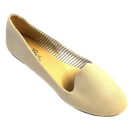 Womens Canvas Loafer Smoking Shoes Flats 4024 Nude 5/6