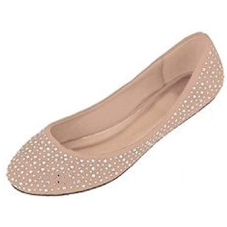 Womens Faux Suede Rhinestone Ballerina Ballet Flats Shoes 5 Colors (11, 4021 Nude)